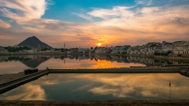 Sunset-to-twilight-time-lapse-at-Pushkar-Rajasthan-India
