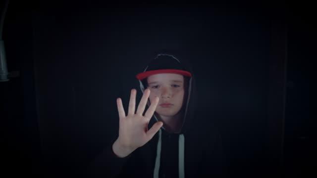 4k-Portrait-of-Boy-Child-Scanning-his-Hand