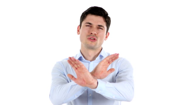 Rejecting-Opposing-Handsome-Businessman-White-Background