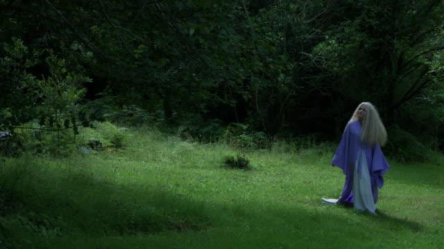 4k-Fantasy-Schuss-einer-Fee-zu-Fuß-und-auf-der-Suche-nach-jemand-im-Wald