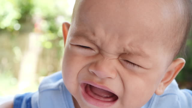 Slow-motion-Close-up-of-crying-baby-boy