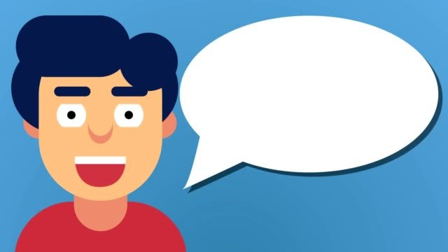 Smiling-male-Guy-Loop-Motion-Graphics-with-empty-speech-bubble-blue