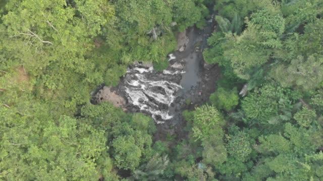 Cascadas-de-agua-que-fluye-en-un-río-Vista-aérea-de-una-selva-tropical-4K