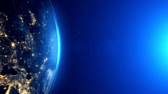 Altamente-detallados-Planeta-Tierra-Europa-zona-noche-Horizonte-de-mundo-épica-moonlight-