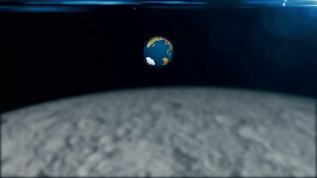 Abstracta-fondo-de-renderizado-3d-con-la-rotación-de-la-tierra-y-de-la-llamarada-Vista-desde-la-luna