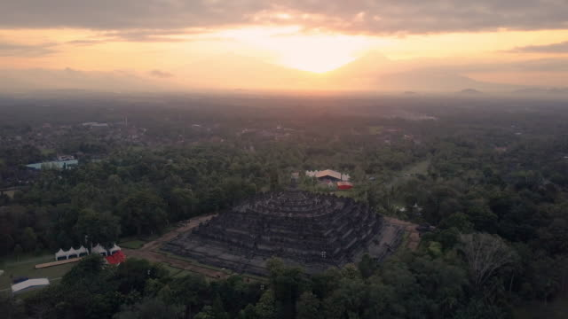Borobudur-temple-aerial-view-at-sunrise-a-UNESCO-site-and-World-largest-Buddhist-temple-Indonesia