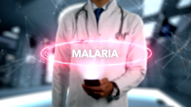 Malaria---Male-Doctor-With-Mobile-Phone-Opens-and-Touches-Hologram-Illness-Word