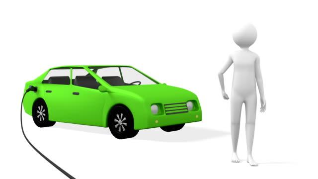 3D-Person-Presents-Green-Electric-Car