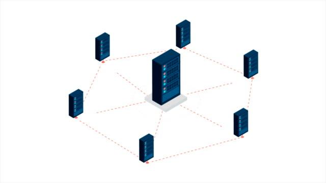 Isometrische-Interieur-mit-Reihen-von-Hardware-Server-Case-Gehäuse-Bewegung-Grafikkonzept