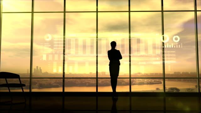 Silhouette-des-Business-Frau-und-Börse-Infografiken