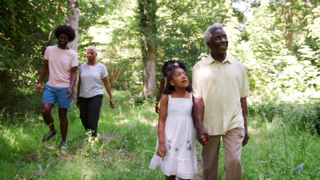 Multi-familia-de-generación-negro-caminando-en-un-bosque