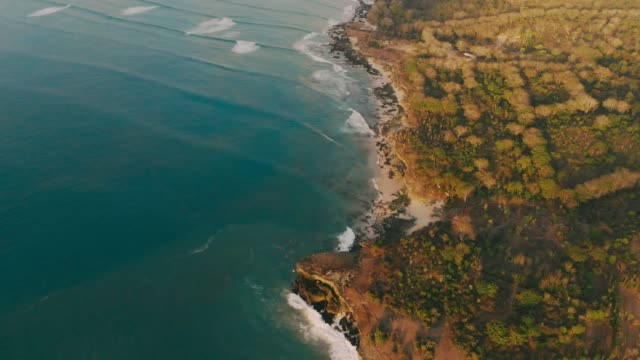 Aerial-view-in-Bali-with-ocean-waves-Landscape-with-waves-and-ocean-coast