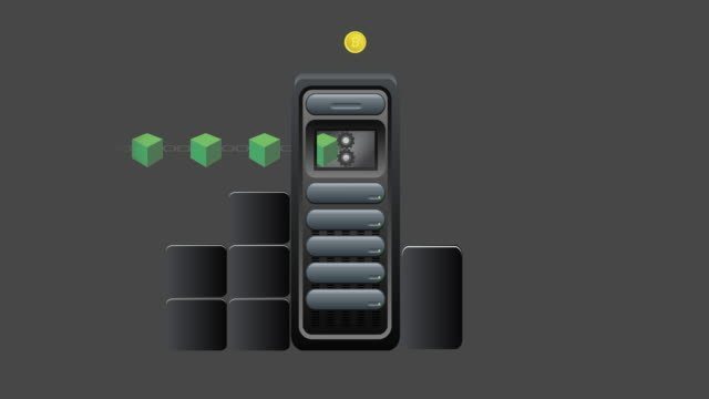 Bitcoin-Server-Mining-animation-keyable-standalone-with-matte---4K