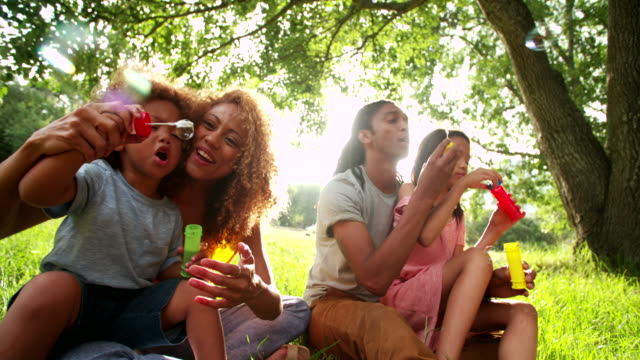 Young-attractive-african-american-family-blowing-bubbles-in-the-sun-