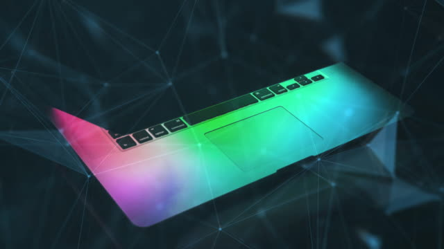 Sleek-Notebook-and-polygons-network-4k