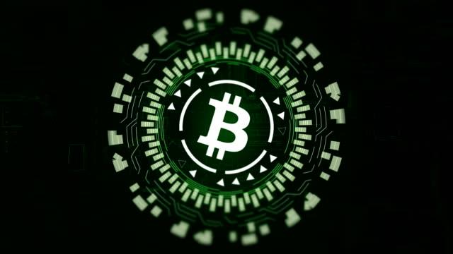 Grünen-runden-Hologramm-drehen-Bitcoin-Zeichen-im-Zentrum