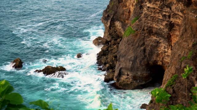 Uluwatu-stone-cliffs-ocean-waves-Aerial-top-view-Bali-Indonesia-