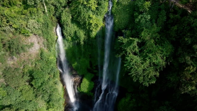 Aerial-view-of-Waterfall-in-green-rainforest
