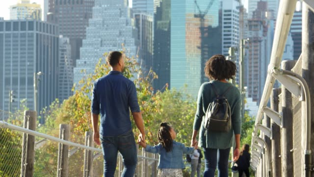 Couple-with-young-daughter-walking-on-footbridge-back-view