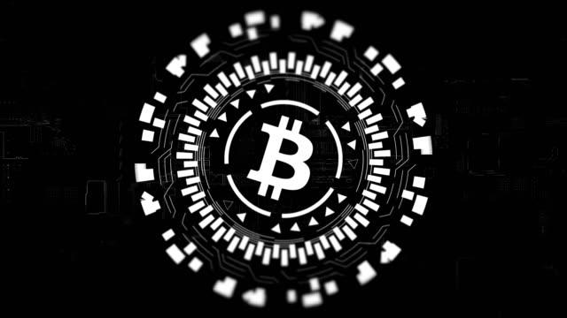 Silberne-Runde-Hologramm-drehen-Bitcoin-in-Mitte