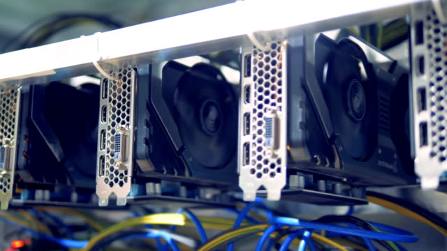 Rotating-reels-of-graphic-cards-during-cryptocurrency-mining