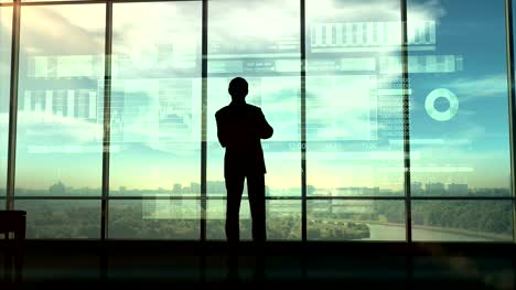 Silhouette-of-a-trader-in-the-office-before-infographics