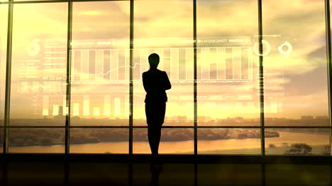 Silhouette-of-business-woman-and-stock-exchange-infographics