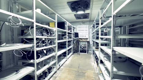 Server-room-for-crypto-currency-mining-Row-of-bitcoin-miners-set-up-on-the-wired-shelfs-Mining-cryptocurrency-Bitcoin-farm-Machines-for-mining-cryptocurrency-bitcoin-Electronic-device-at-day