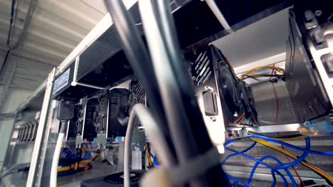 Graphic-processing-units-are-mining-bitcoins-in-a-mining-rig