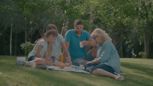 Relaxed-family-having-picnic-in-summer-park