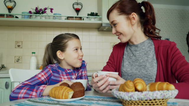 Cheerful-mother-and-cute-daughter-having-breakfast-eating-muffins-and-croissants-talking-at-home-in-modern-kitchen-Family-food-home-and-people-concept