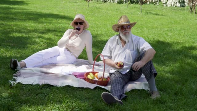 Senior-man-with-senior-woman-relaxing-on-a-blanket-in-park