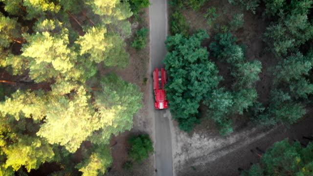Draufsicht-von-der-Drohne-auf-das-rote-Feuer-LKW-fahren-entlang-der-Straße-in-einem-Kiefernwald