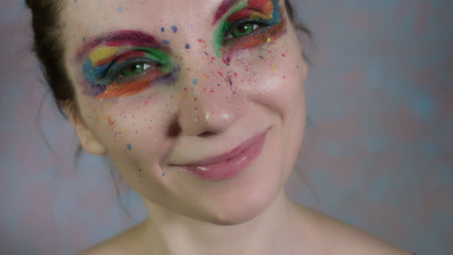 4k-Shot-of-a-Woman-with-Multicoloured-Make-up-Flapping-her-Eyelids