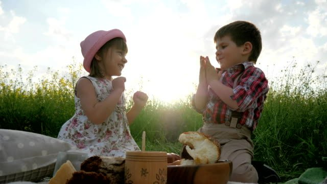 playing-Children-having-fun-in-fresh-air-brother-and-sister-at-picnic-family-resting-in-nature-Children-laugh-happily-good-mood