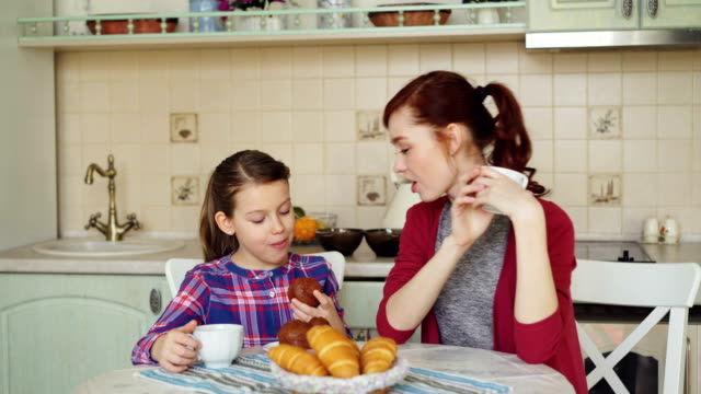 Happy-mother-and-cute-daughter-having-breakfast-eating-muffins-and-talking-at-home-in-modern-kitchen-Family-food-home-and-people-concept
