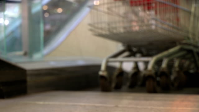 Concept-shopping-mall-Train-of-trolley-Shopping-trolley-as-shopping-symbol-Bottom-view-in-blur