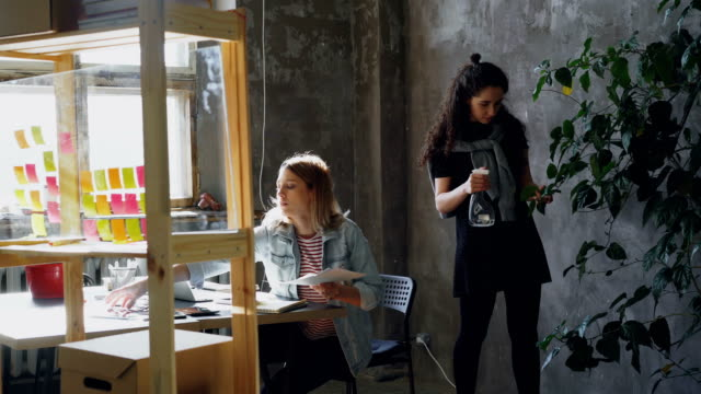 Female-friends-and-business-partners-are-working-together-in-modern-office-Blonde-is-sitting-at-table-and-collecting-pictures-brunette-is-watering-plants-