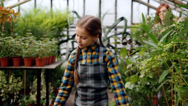 Pretty-girl-is-walking-in-greenhouse-and-spraying-water-on-greenery-while-her-busy-mother-is-working-in-background-Childhood-helping-parents-and-family-concept-