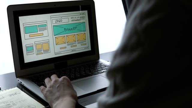 Desarrollador-Web-sentado-en-la-mesa-haciendo-un-bosquejo-de-la-futura-sede-Trabajar-en-forma-remota-desde-una-oficina-en-casa