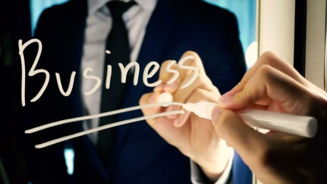 Hombre-de-negocios-inteligente-escribiendo-la-palabra-negocio-en-el-tablero-de-espejo---texto-de-negocios