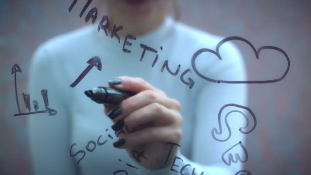 4K-Business-Woman-Writing-on-Transparent-Screen-Marketing