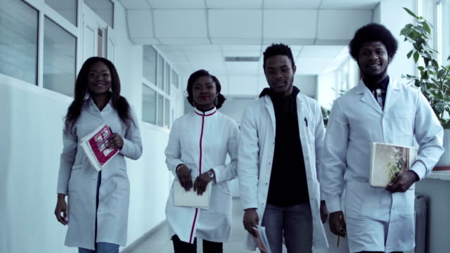 Video-clip-of-medical-students-in-corridor