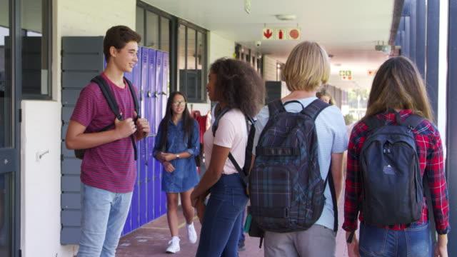 Teenage-classmates-stand-talking-in-high-school-hallway