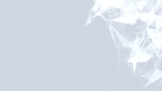 Clean-White-Abstract-polygonal-Digital-Geometrical-Polygon-Plexus-Fractals-Moving-low-poly-Technologies-Minimalist-design-element-Seamless-loop-background-for-corporate-business-presentation