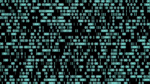Zufällig-leuchtender-Binärcode-auf-schwarzem-Hintergrund