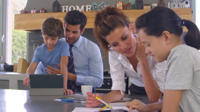 Parents-Helping-Children-With-Homework-Before-Going-To-Work