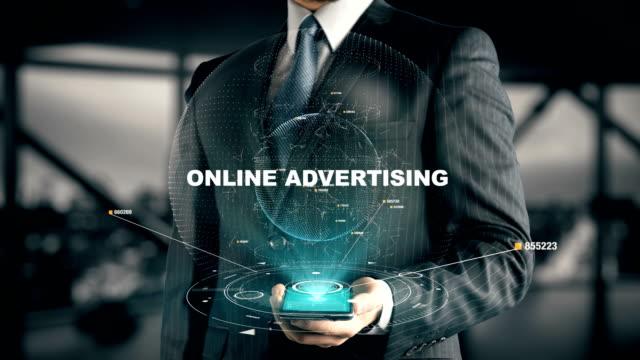 Geschäftsmann-mit-Online-Werbung-Hologramm-Konzept