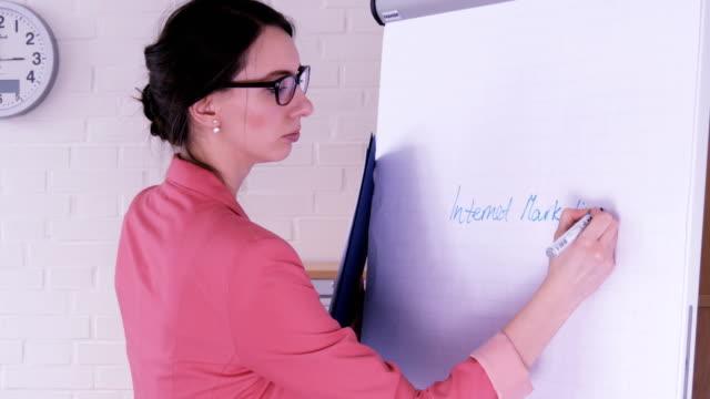 Una-empresaria-joven-dando-una-presentación-con-un-rotafolio