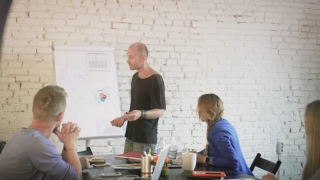 Business-team-discussing-new-startup-ideas-on-the-business-meeting-Coworkers-in-the-office-communicate-and-planning